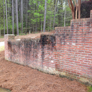 Retaining Wall Before Cleaning