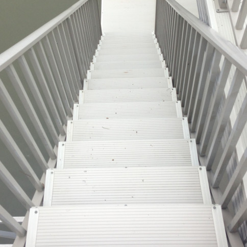 Metal Dock Stairs After Cleaning